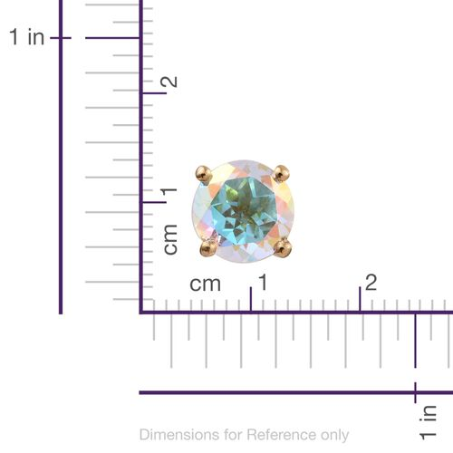 Mercury Mystic Topaz (Rnd) Stud Earrings (with Push Back) in 14K Gold Overlay Sterling Silver 2.750 Ct.