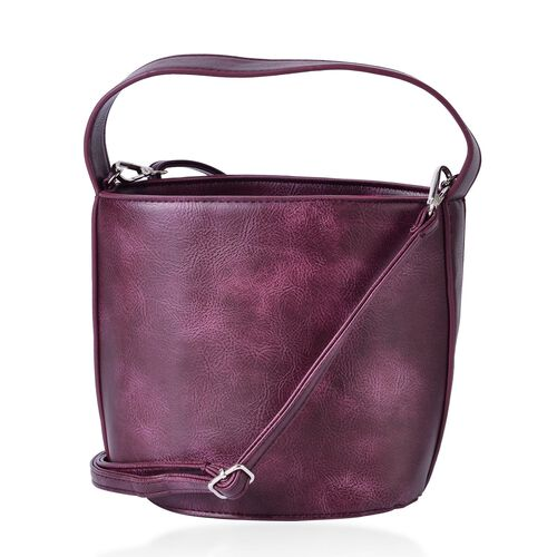 Burgundy Colour Tote Bag with Adjustable and Removable Shoulder Strap (Size 19x18x15x13.5 Cm)