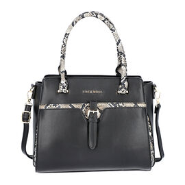LOCK SOUL Snake Pattern Handbag with Detachable Shoulder Strap (31x14x26cm) - Black