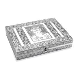 Buddha Embossed Ring Organizer Box with 9 Slots and Blue Velvet Lining (Size 27.94x20.3x5.08 Cm)