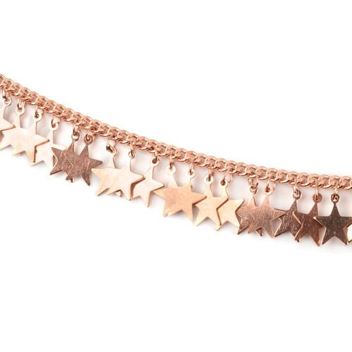 Rose Gold Overlay Sterling Silver Necklace (Size 16.5 with 2 inch Extender), Silver wt 10.16 Gms