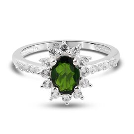Russian Diopside and Natural Cambodian Zircon Ring in Sterling Silver 1.47 Ct.