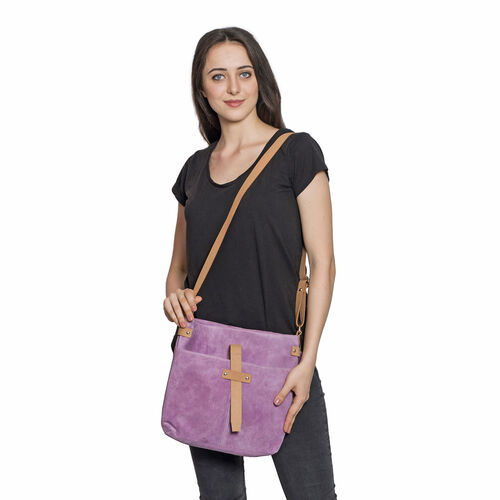 LIMITED COLLECTION 100% Genuine Leather RFID Blocker Lilac Purple Cross Body Bag with Adjustable Shoulder Strap (Size 33.5X31X5 Cm)
