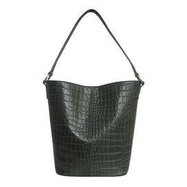 Assots London AMELIA Croc Leather Bucket Bag (35X13X34cm) - Khaki
