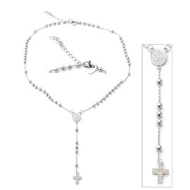 ELANZA Simulated Diamond (Rnd) Adjustable Necklace (Size 16.5 with 1.5 inch Extender) in Rhodium Ove
