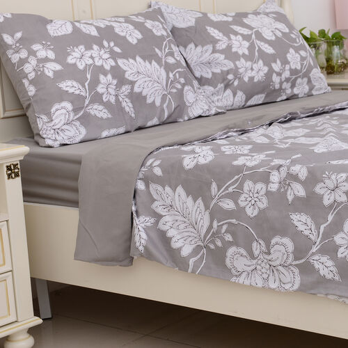 Grey Colour Microfiber Printed Fabric Duvet Cover with Floral Design (Size 225x220 Cm), Fitted Sheet (Size 200x150 Cm) and Grey Pillow Case (Size 75x50 Cm)