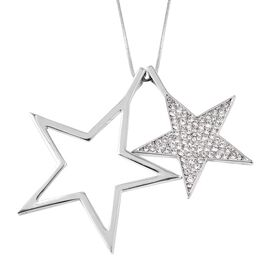 White Austrian Crystal Double Star Necklace in Silver Tone 28 with 2 inch Extender