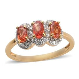 Red Sapphire and Natural Cambodian Zircon Ring in 14K Gold Overlay Sterling Silver 1.38 Ct.