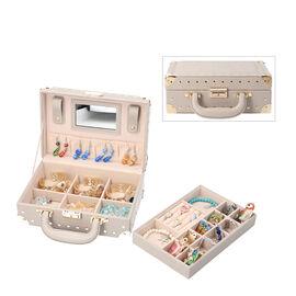 Grace Collection - Briefcase Design Lizard Skin Pattern Two Layer Anti-Tarnish Jewellery Storage Box