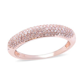 9K Rose Gold Natural Pink Diamond (Rnd) Cluster Band Ring 0.50 Ct.