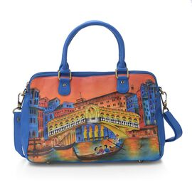 SUKRITI 100% Genuine Leather Hand Painted Bridge Bag (Size 36x24x12 Cm) with Detachable Shoulder Str