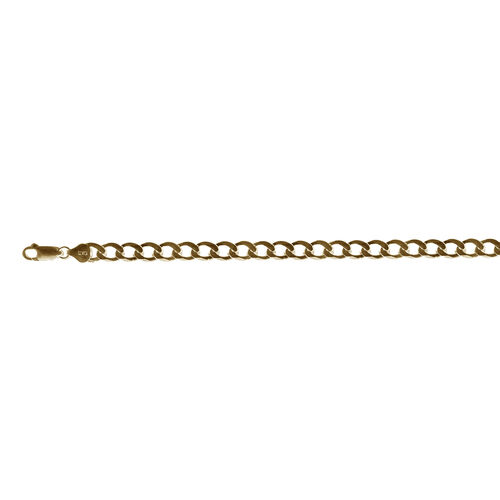 Italian Hand Made 14K Gold Overlay Sterling Silver Flat Curb Necklace (Size 24), Silver wt 37.54 Gms.
