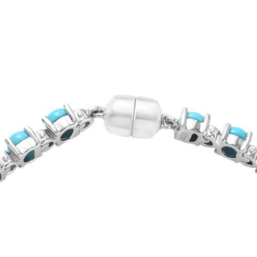 Arizona Sleeping Beauty Turquoise (Rnd) Bracelet (Size 8) in Platinum Overlay Sterling Silver 8.25 Ct, Silver wt 11.00 Gms