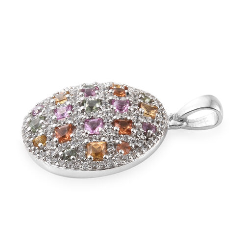 Multi Gem Stone Circle Pendant in Platinum Overlay Sterling Silver 3.000 Ct, Number of Gemstone 171
