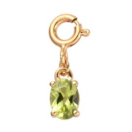 Charms De Memoire Hebei Peridot (Ovl 7x5) Charm in Platinum Overlay Sterling Silver 0.75 Ct.