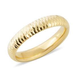 9K Yellow Gold Diamond Cut Band Ring, 1.33gms