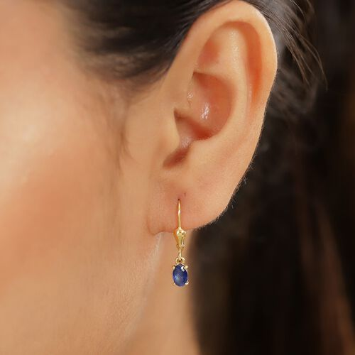 Masoala Sapphire Solitaire Lever Back Earring in 14K Gold Overlay Sterling Silver 1.10 Ct.