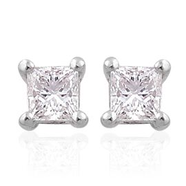 RHAPSODY 950 Platinum 0.25 Carat VVS-VS/F Princess Cut Diamond Solitaire Stud Earrings (with Screw Back), IGI Certified