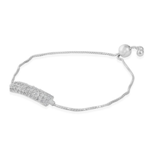 ELANZA AAA Simulated Diamond (Rnd) Adjustable Bracelet (Size 6.5 to 7.5) in Sterling Silver. Silver wt. 4.70 Gms.