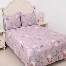 3 Piece Set - 100% Mulberry Silk Double Size Quilt with Cotton Floral Printed Cover and Two Pillow C