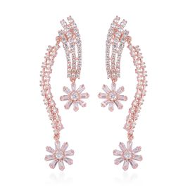 Simulated Diamond Dangle Earrings in Rose Gold Tone with Push Back
