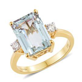 ILIANA 18K Yellow Gold AAA Espirito Santo Aquamarine (Oct 6.65 Ct), Diamond (SI/G-H) Ring 7.000 Ct. Gold wt 5.40 Gms.