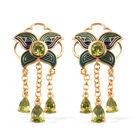 4.75 Ct AA Hebei Peridot Dangle Earrings in Gold Plated Sterling Silver