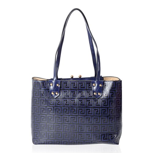 TW11 COLLECTION Navy Greek Key Embossed Tote Bag (Size 35x27.5x13.5 Cm)