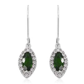 Russian Diopside (Mrq), Natural White Cambodian Zircon Lever Back Earrings in Rhodium Overlay Sterling Silver 1.750 Ct.