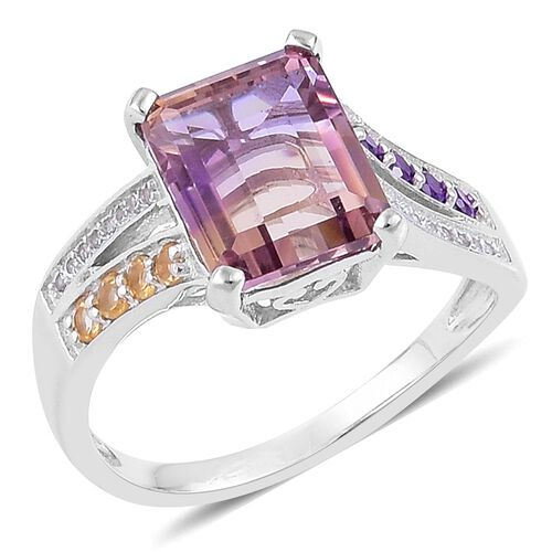Anahi Ametrine (Oct 5.25 Ct), Citrine, Amethyst and White Zircon Ring in Platinum Overlay Sterling S
