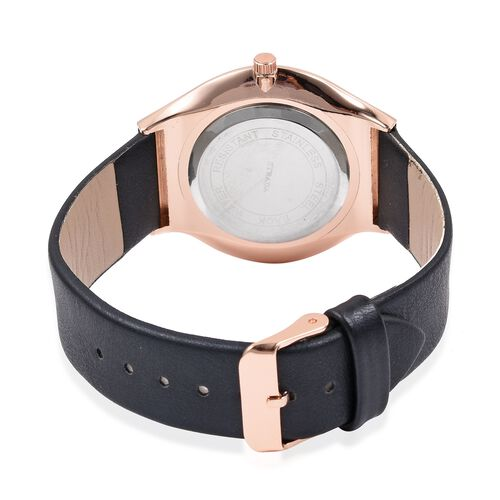 STRADA Japanese Movement Rose Gold Colour Plated Water Resistant Watch with Double Navy Blue Sunshine Literal and Black Colour Strap.