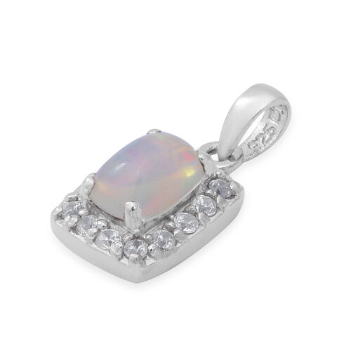 Ethiopian Welo Opal and Natural Cambodian White Zircon Pendant in Rhodium Overlay Sterling Silver 1.04 Ct