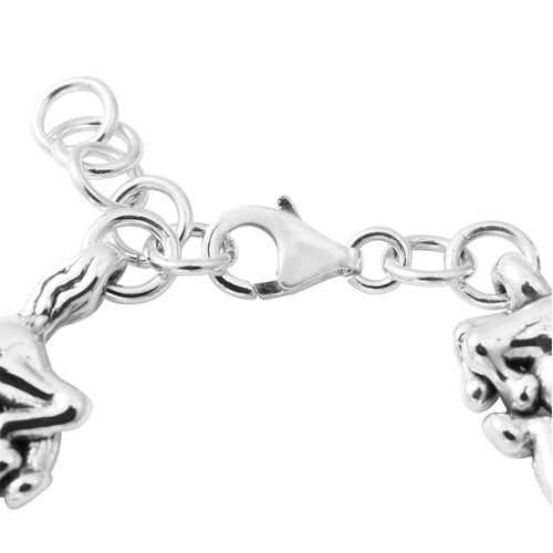 One Time Deal-Sterling Silver Horse Bracelet (Size 7.5), Silver wt 13.77 Gms