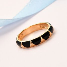 14K Gold Overlay Sterling Silver Enamelled Band Ring
