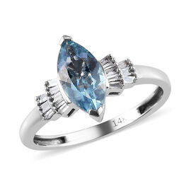 14K White Gold AAA Santa Maria Aquamarine (Mrq 10x5mm), Diamond (I1-I2/G-H) Ring 1.00 Ct.