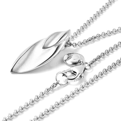 RACHEL GALLEY Rhodium Overlay Sterling Silver Sandblast Texture Leaf Design Pendant with Chain (Size 30)