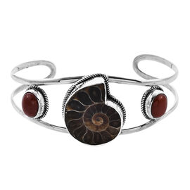 Royal Bali Collection - Ammonite Fossil and Red Jade Bangle (Size 7.25) in Sterling Silver, Silver w