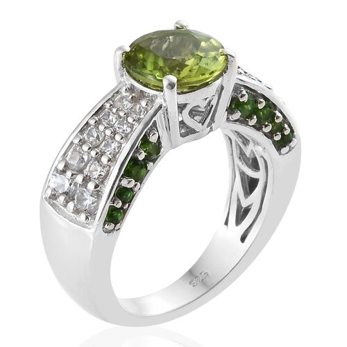 Hebei Peridot (Rnd 1.90 Ct), Natural Cambodian Zircon, Russian Diopside Ring in Platinum Overlay Sterling Silver 3.250 Ct, Silver wt 5.97 Gms.