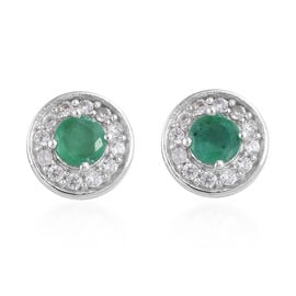 Brazilian Emerald (Rnd), Natural Cambodian Zircon Stud Earrings (with Push Back) in Platinum Overlay