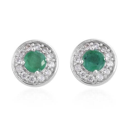 1 Carat Brazilian Emerald and Cambodian Zircon Stud Halo Earrings in Platinum Plated Sterling Silver