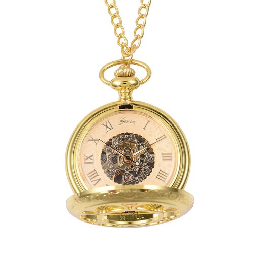 GENOA Automatic Skeleton Water Resistant Pocket Watch with Chain in Gold Tone
