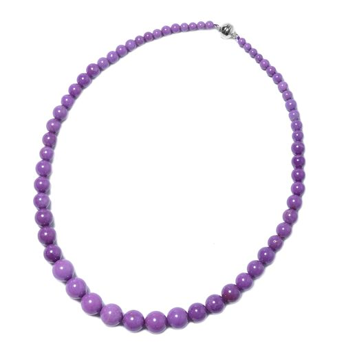 305 Ct South American Phosphosiderite Beaded Necklace in Rhodium Plated Silver 20 Inch