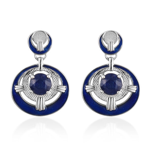 AA Masoala Sapphire Earrings (with Push Back) in Platinum Overlay Sterling Silver 4.00 Ct, Silver wt