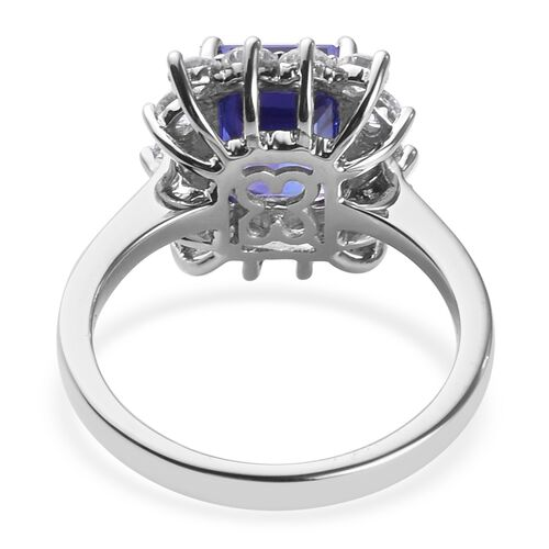 RHAPSODY 950 Platinum AAAA Tanzanite and Natural Diamond Ring 3.60 Ct, Platinum wt. 6.17 Gms