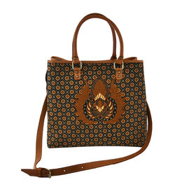 100% Genuine Leather Hand Crafted Motif Batik Handbag with Detachable Shoulder Strap (Size 31x17x29