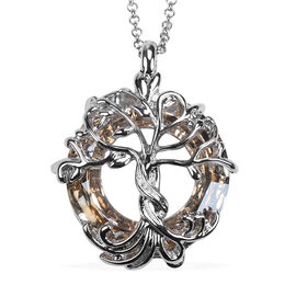 Simulated Champagne Quartz Pendant With Chain (Size 24) in Stainless Steel