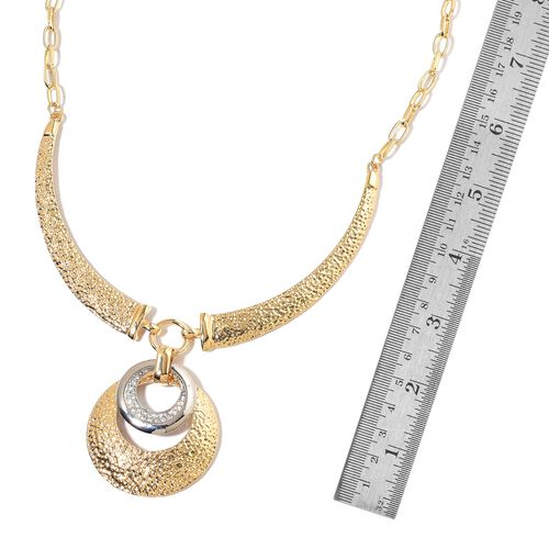 White Austrian Crystal Concentric Circle Necklace (Size 22) in Silver and Yellow Gold Tone