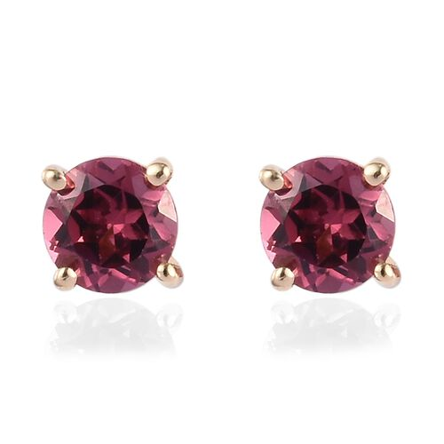 9K Yellow Gold AA Orissa Rose Garnet Stud Earrings (with Push Back) 0.65 Ct.