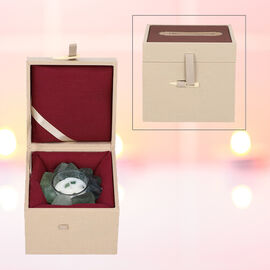 The 5th Season Green Rose Quartz Candle with Wooden Gift Box in Fragrance- Mango and Peach Salad