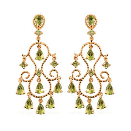 AA Hebei Peridot Earrings (with Push Back) in 14K Gold Overlay Sterling Silver 8.25 Ct, Silver wt 8.